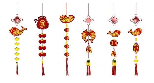 Chińska nowy rok dekoracja ustawiająca na białym tle. Premium Wektorów
