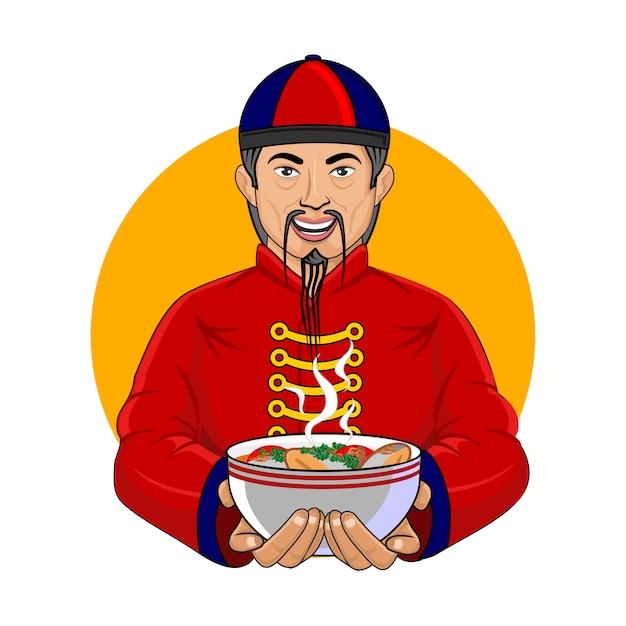 Chińska zupa rybna Premium Wektorów