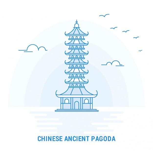 Chiński ancient pagoda blue landmark Premium Wektorów