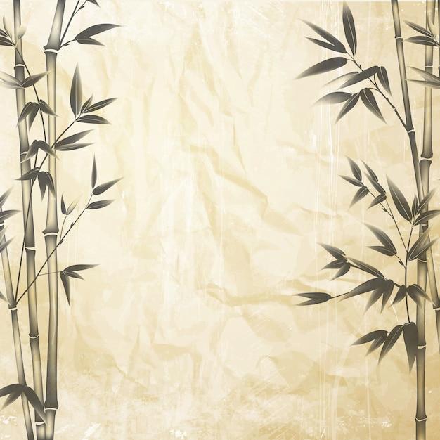 Chiński Bambus Na Starym Tle Papieru Darmowych Wektorów