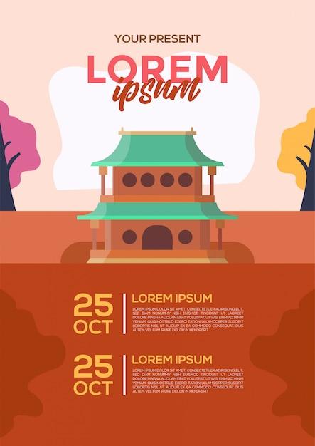 Chiński jesień plakat plakat wektor Premium Wektorów