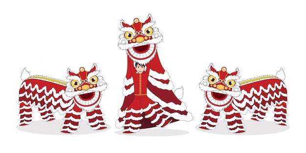 Chiński księżycowy nowy rok lwa taniec walki na białym tle z postać z kreskówki na białym tle Premium Wektorów