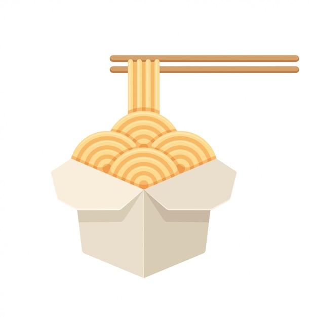 Chiński makaron w białym papierowym pudełku Premium Wektorów