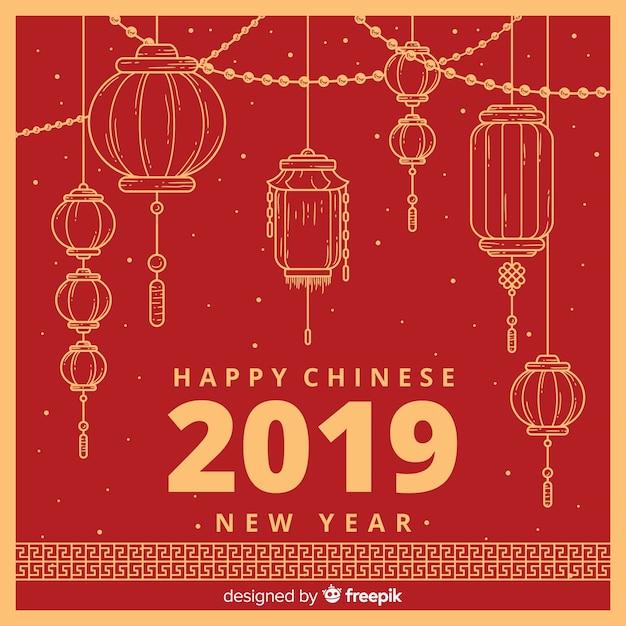 Chiński Nowy Rok 2019 Tło Premium Wektorów