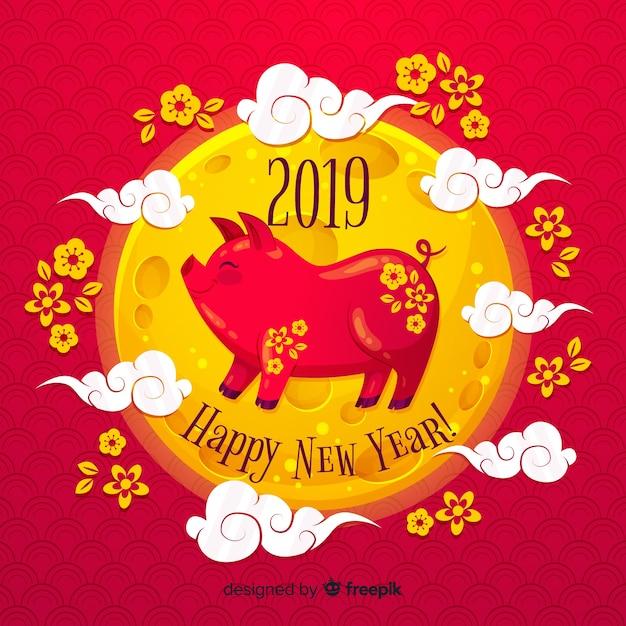 Chiński nowy rok 2019 tło Darmowych Wektorów