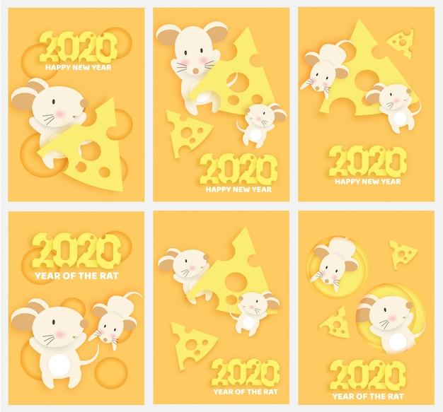 Chiński Nowy Rok 2020 Rok Szczura W Stylu Cięcia Papieru I Rzemiosła. Premium Wektorów