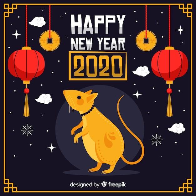 Chiński nowy rok w płaskiej konstrukcji Darmowych Wektorów
