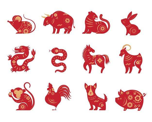 Chiński Nowy Rok, Znaki Zodiaku, Ikony Wycinanki I Symbole. Premium Wektorów