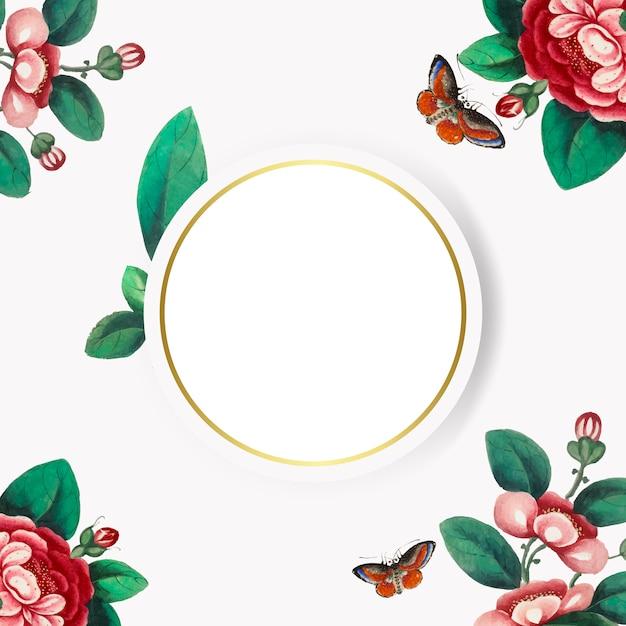 Chiński obraz featuring kwiaty puste koło rama wektor Darmowych Wektorów