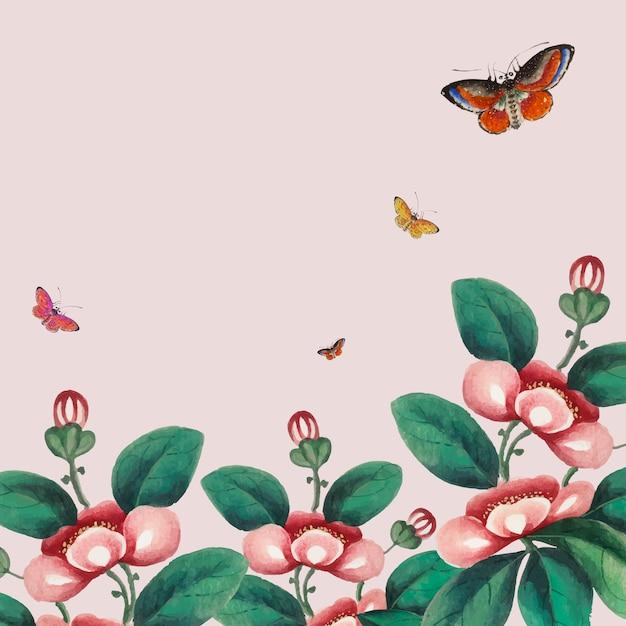 Chiński obraz z tapetą z kwiatami i motylami Darmowych Wektorów