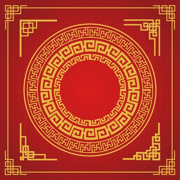 Chiński Styl Ramki Na Czerwonym Tle Premium Wektorów