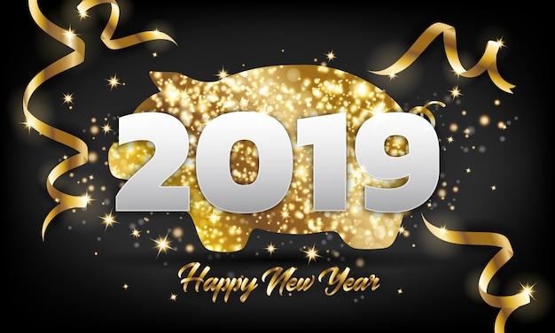 Chiński szczęśliwego nowego roku 2019 złoty świnia powitanie karta tło. Premium Wektorów