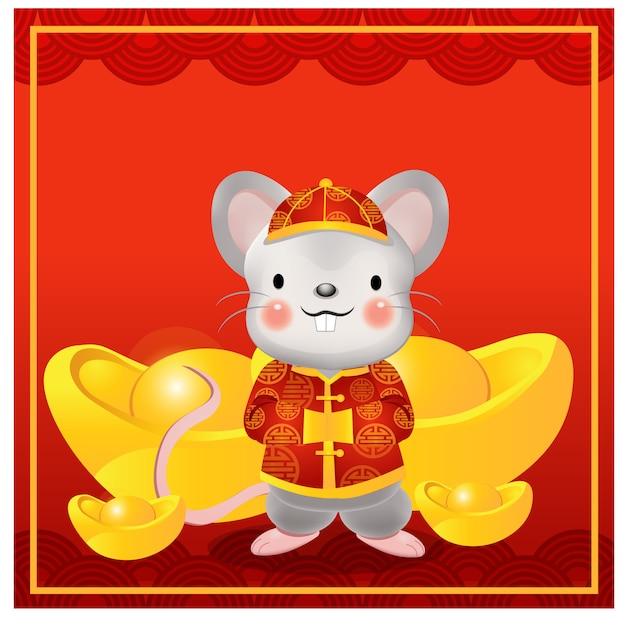 Chiński szczęśliwego nowego roku, rok szczura. postać z kreskówki ładny szczur w tradycyjnej chińskiej sukni otaczają sztabkę złota Premium Wektorów