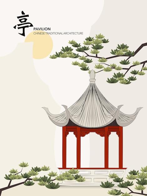 Chiński Tradycyjny Architektura Budynek Pawilon Sosny Słońca Premium Wektorów