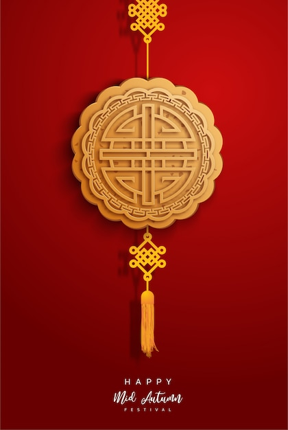 Chiński w połowie jesień festiwalu tło. chiński znak Premium Wektorów