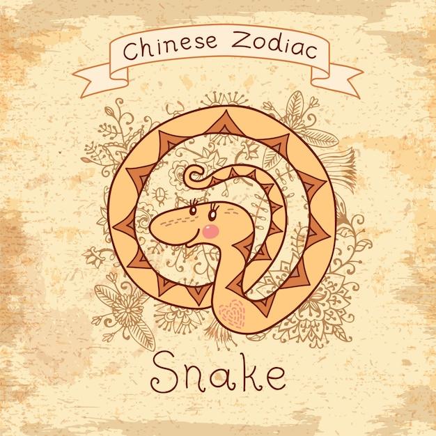 Chiński zodiak - wąż Premium Wektorów