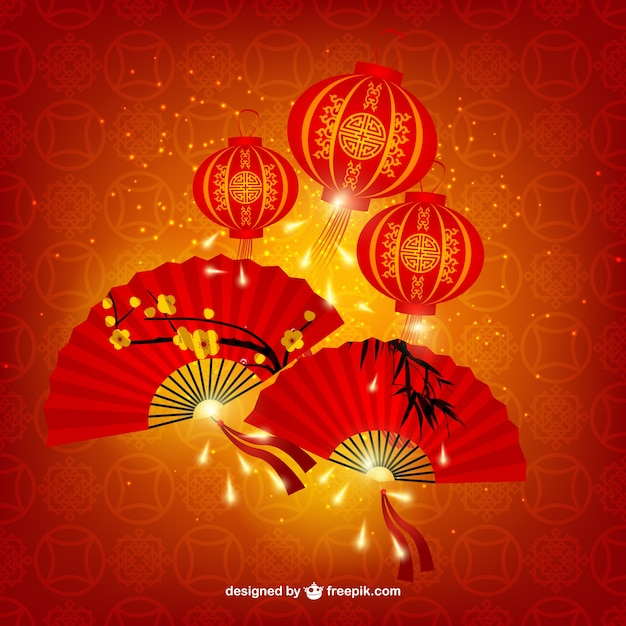 Chińskie Lampy I Wentylatory Premium Wektorów