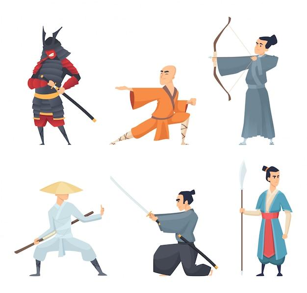 Chińskie Myśliwce. Tradycyjni Bohaterowie Wschodnich Bohaterów Guangdong Samurajskie Miecze Ninja Z Kreskówek W Pozach Akcji Premium Wektorów