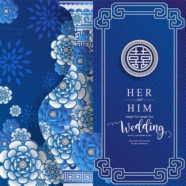 Chińskie orientalne ślubne szablony kart zaproszenie z pięknym wzorzystym na papierze kolor tła. Premium Wektorów