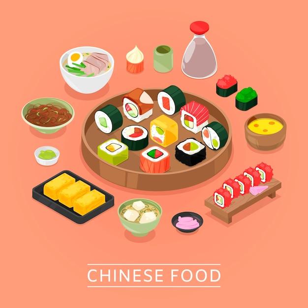 Chińskie Sushi Wektor Pudełko żywności, Talerz, Pałeczki, Widok Z Góry, Sushi Premium Wektorów
