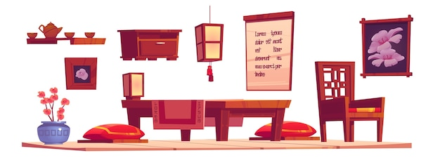 Chińskie Wnętrze Salonu Z Drewnianym Stołem, Krzesłem I Czerwonymi Poduszkami. Kreskówka Zestaw Mebli W Chińskim Domu, Latarnia, Taca Z Dzbanek Do Herbaty I Filiżanki Na Białym Tle Darmowych Wektorów