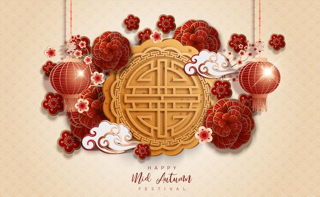 Chińskiego nowego roku festiwalu w połowie jesień tło. chiński znak Premium Wektorów