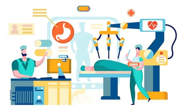 Chirurgia Z Użyciem Robota żołądka. Premium Wektorów