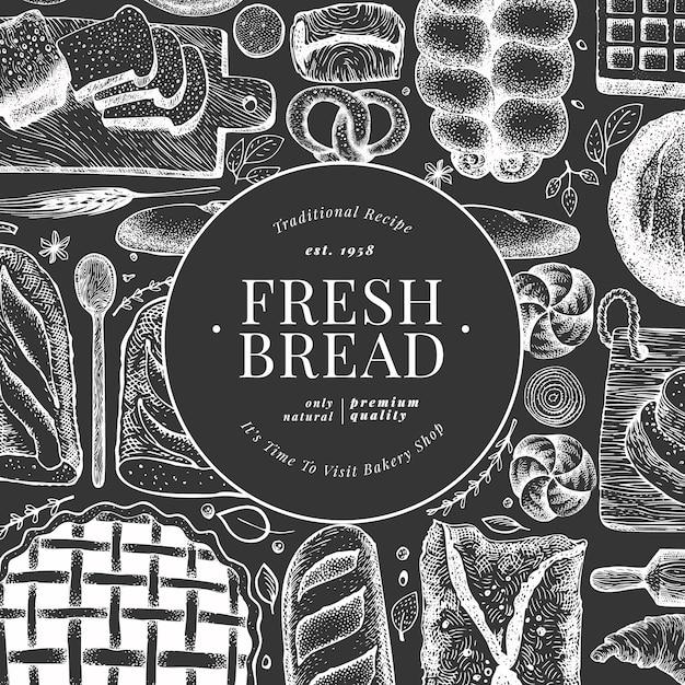 Chleb I Ciasto Wektorowa Ręka Rysująca Piekarni Ilustracja Na Kredowej Desce. Szablon Projektu Vintage. Premium Wektorów