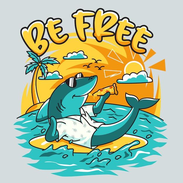 Chłodny Charakter Rekina Jeść Pizzę W Letniej Plaży Premium Wektorów