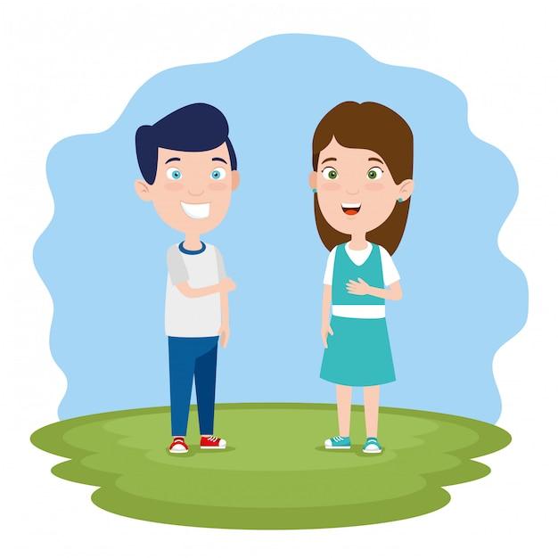 Chłopak i dziewczyna rozmawiają Darmowych Wektorów