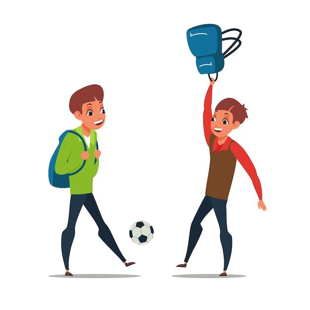 Chłopcy Grający W Piłkę Nożną Premium Wektorów