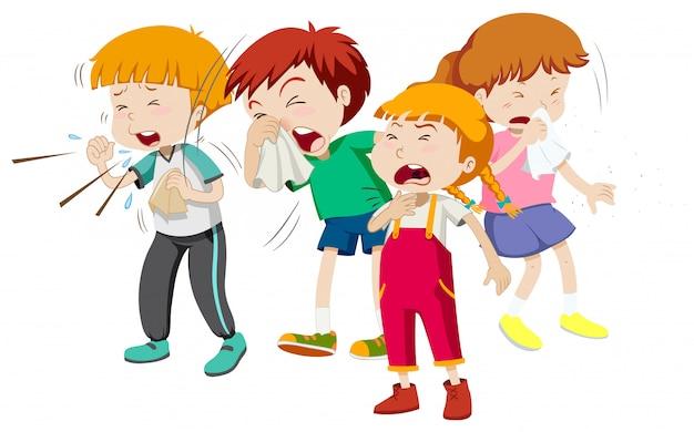 Chłopcy I Dziewczęta Mają Przeziębienie Darmowych Wektorów