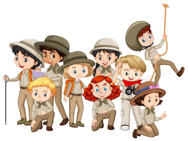 Chłopcy I Dziewczęta W Mundurze Harcerskim Premium Wektorów