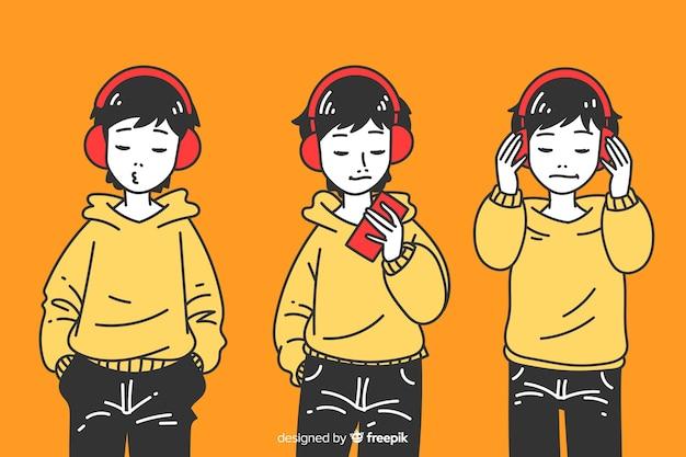 Chłopcy słuchający muzyki w koreańskim stylu rysowania Darmowych Wektorów