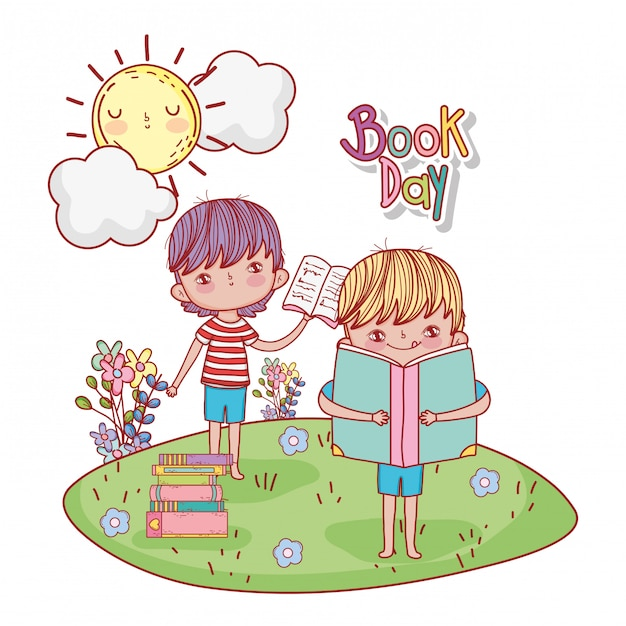 Chłopcy z książką edukacji i słońce z chmurami Premium Wektorów