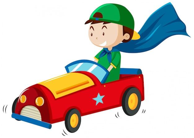Chłopiec Bawi Się Stylem Cartoon Zabawka Samochód Na Białym Tle Darmowych Wektorów