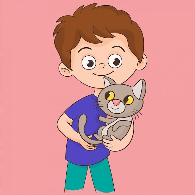 Chłopiec Bawi Się Z Kotem Premium Wektorów