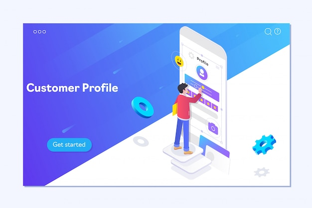 Chłopiec buduje profil klienta w aplikacji mobilnej Premium Wektorów