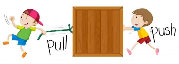 Chłopiec ciągnąc i popychając drewniane pudełko Darmowych Wektorów
