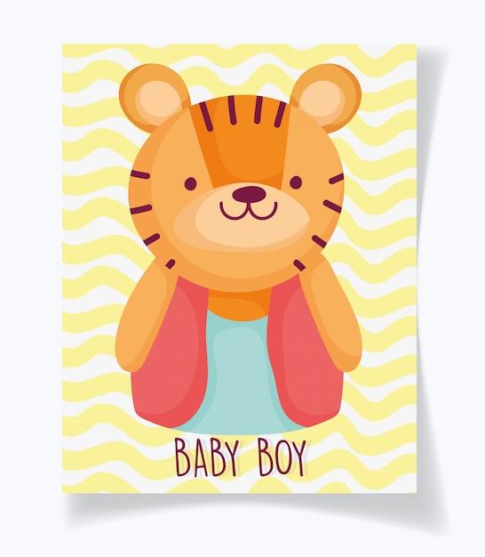 Chłopiec Czy Dziewczynka, Płeć Ujawnia Swoją Kartę Uroczego Tygrysa Premium Wektorów