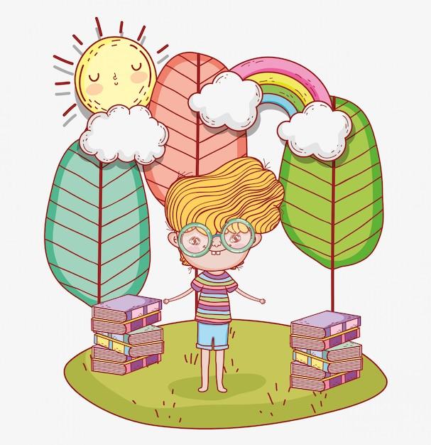Chłopiec czyta książki z drzewami i chmurami Premium Wektorów