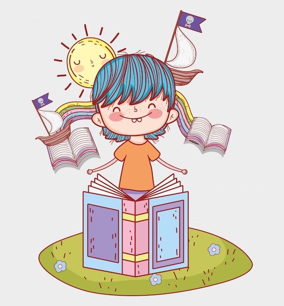 Chłopiec czyta książki z statkami i słońcem Premium Wektorów