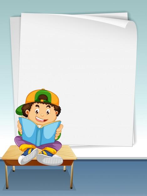 Chłopiec czytanie książki z tłem ramki strony na copyspace Darmowych Wektorów