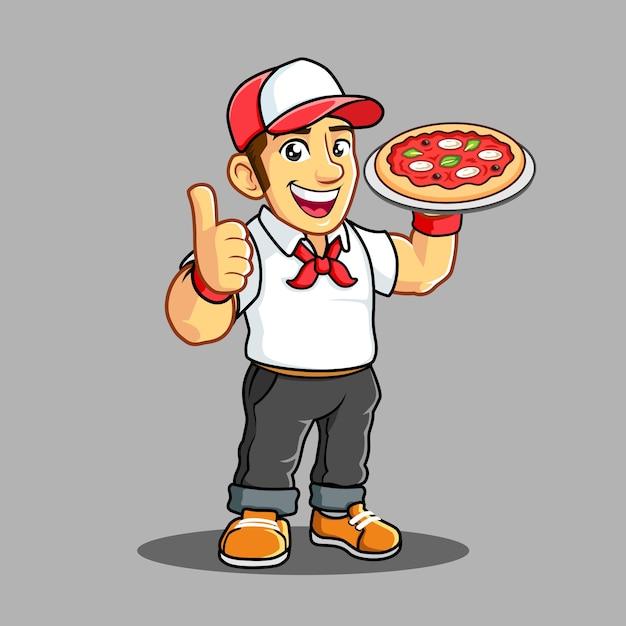 Chłopiec dostawy pizzy z białą koszulką Premium Wektorów