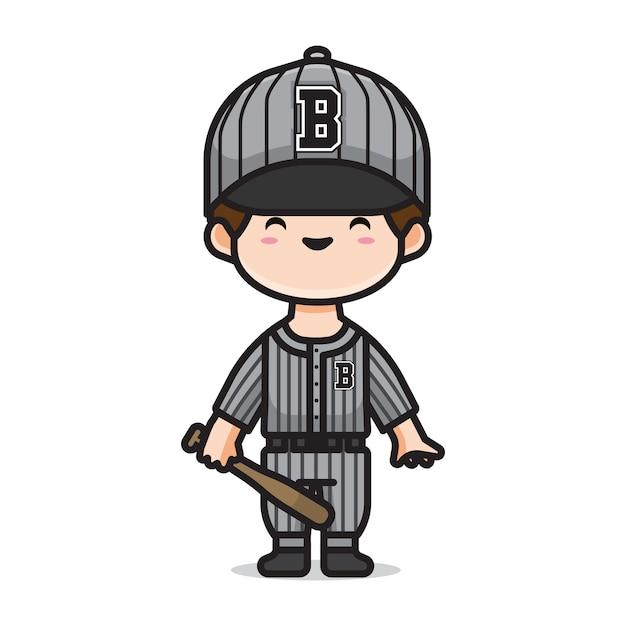 Chłopiec Gra W Baseball Premium Wektorów