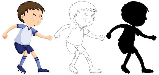 Chłopiec Gra W Piłkę Nożną W Kolorze, Zarysie I Sylwetce Darmowych Wektorów
