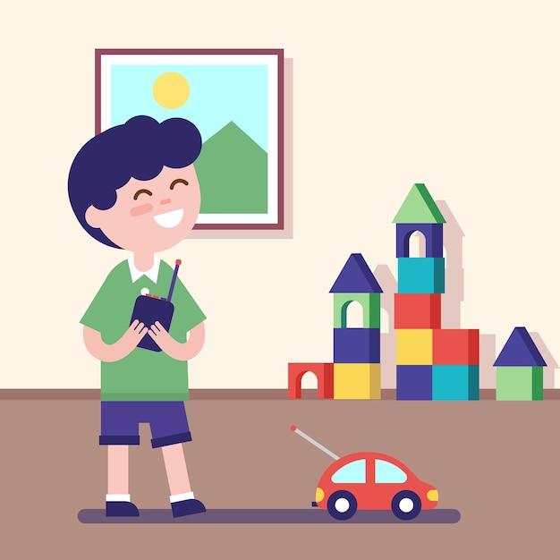 Chłopiec gra z zdalnie sterowanym samochodem Darmowych Wektorów