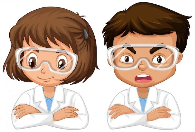 Chłopiec I Dziewczyna W Nauki Todze Na Bielu Darmowych Wektorów