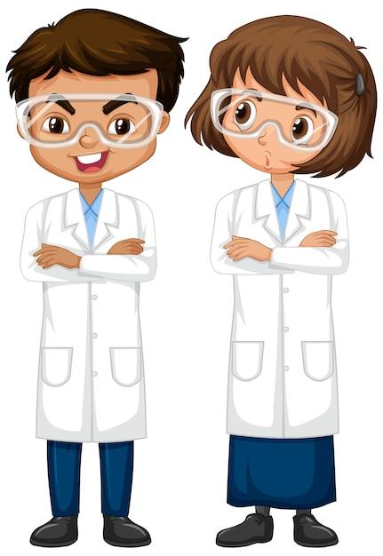 Chłopiec I Dziewczyna W Nauki Togi Pozyci Odizolowywającej Premium Wektorów