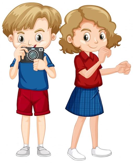 Chłopiec I Dziewczyna Z Kamerą Na Białym Tle Darmowych Wektorów